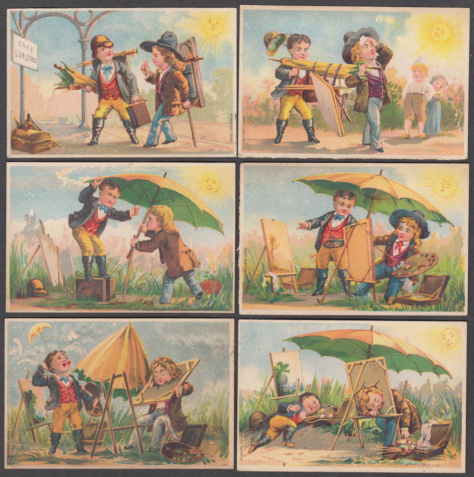 Image for The Painters' Excursion set of six trade cards 1880s Bognard Paris