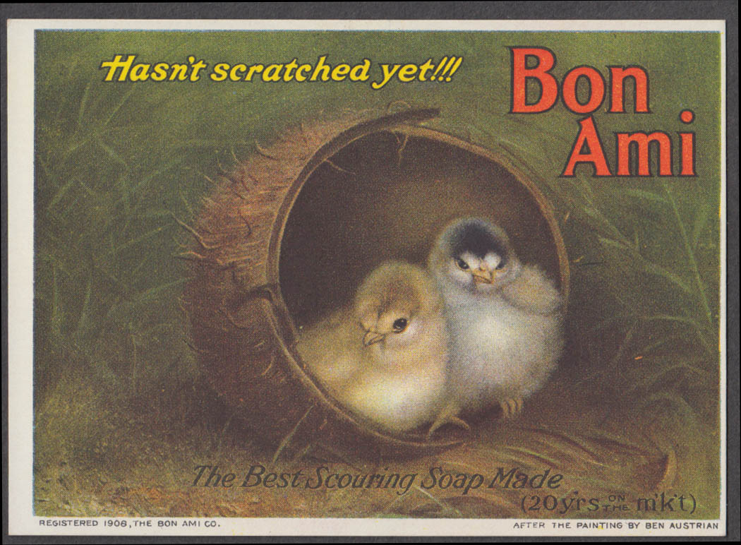 Bon Ami Scouring Soap trade card 1906 two chicks in coconut shell