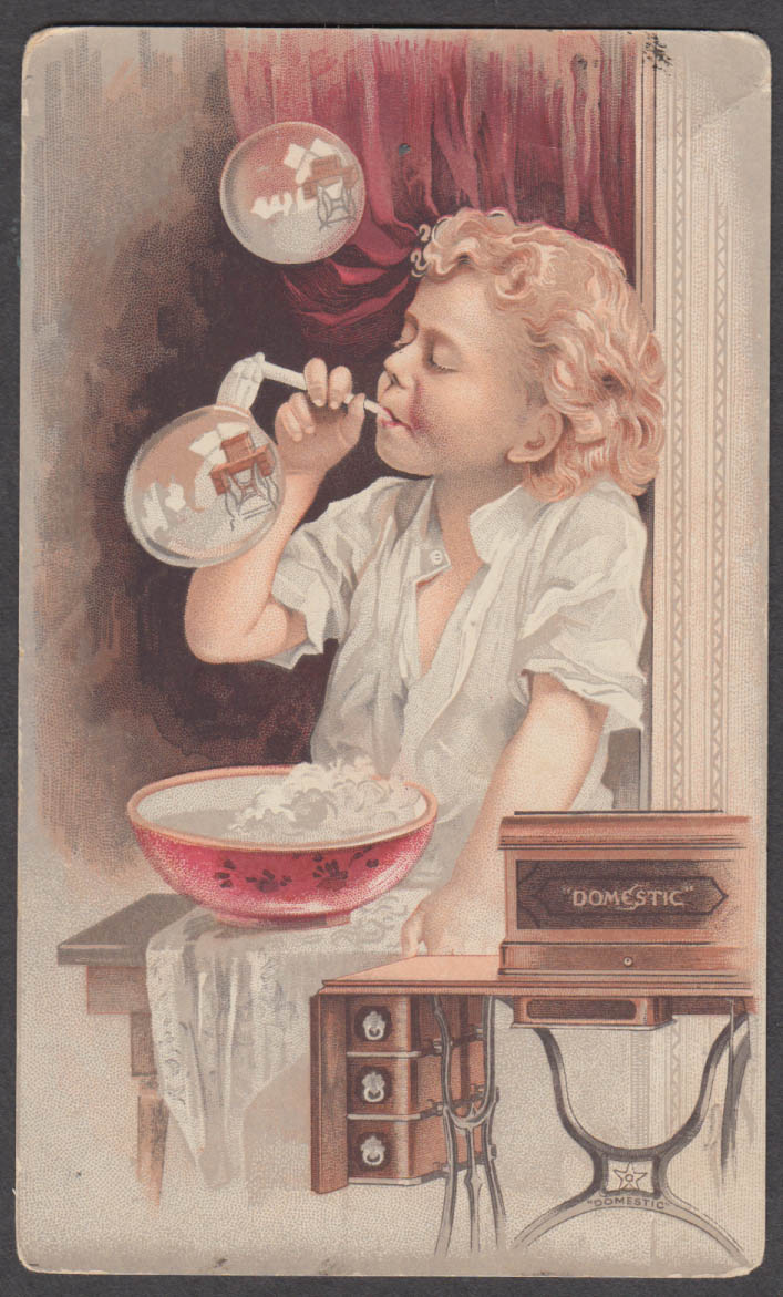 Image for Domestic Sewing Machine trade card 1880s blonde girl blowing bubbles