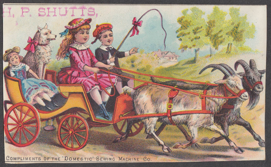 Image for Domestic Sewing Machine trade card 1880s 2 kids doll & dog in 2-goat wagon