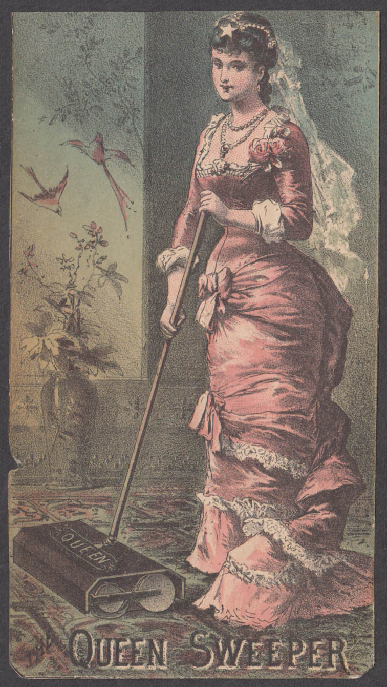 Image for Queen Carpet Sweeper trade card 1880s Bosiwick & Burgess Norwalk OH