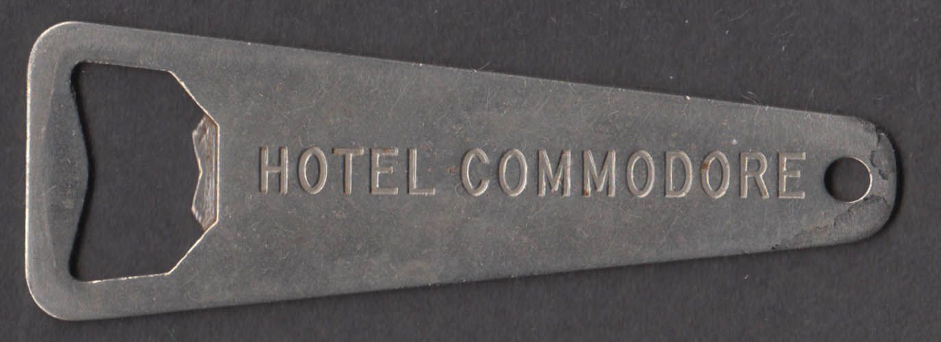 Hotel Commodore New York City metal bottle opener made by Vaughan ca 1940s