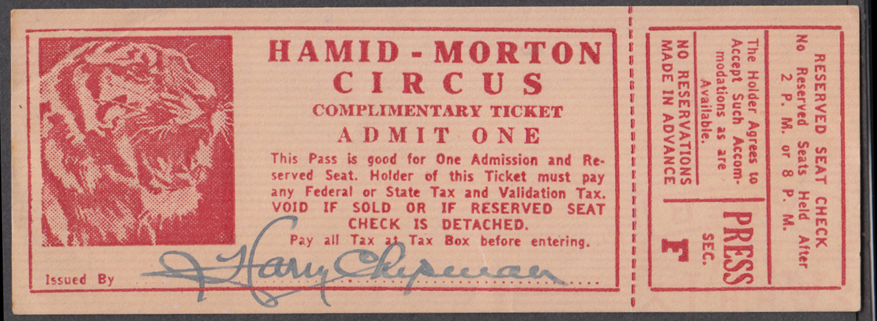 Hamid-Morton Circus Complimentary Pass ticket Press Section SIGNED Harry Chipman