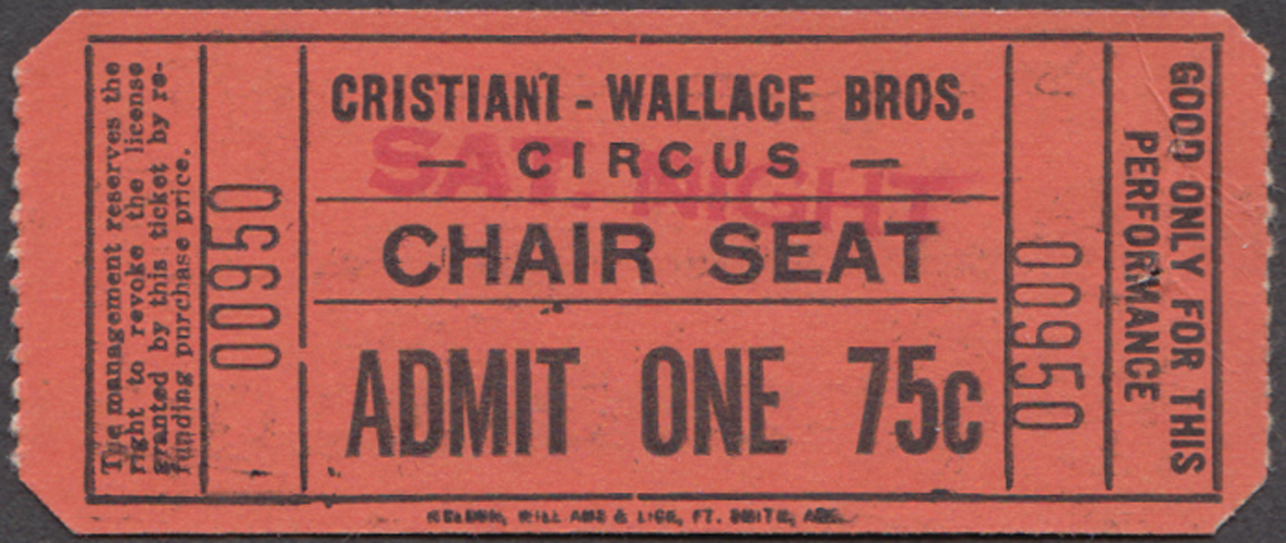 Cristiana-Wallace Bros Chair Seat Admit One 75c circus ticket