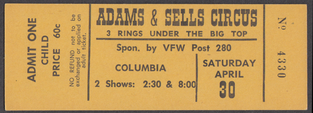 Image for Adams & Sells 3 Ring Child 60c circus ticket Columbia VFW Post 280
