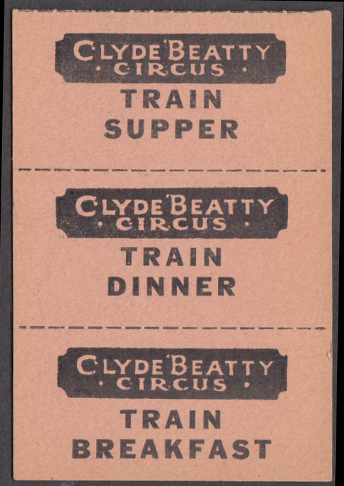 Clyde Beatty circus Train Crew Dinner tickets strip of three