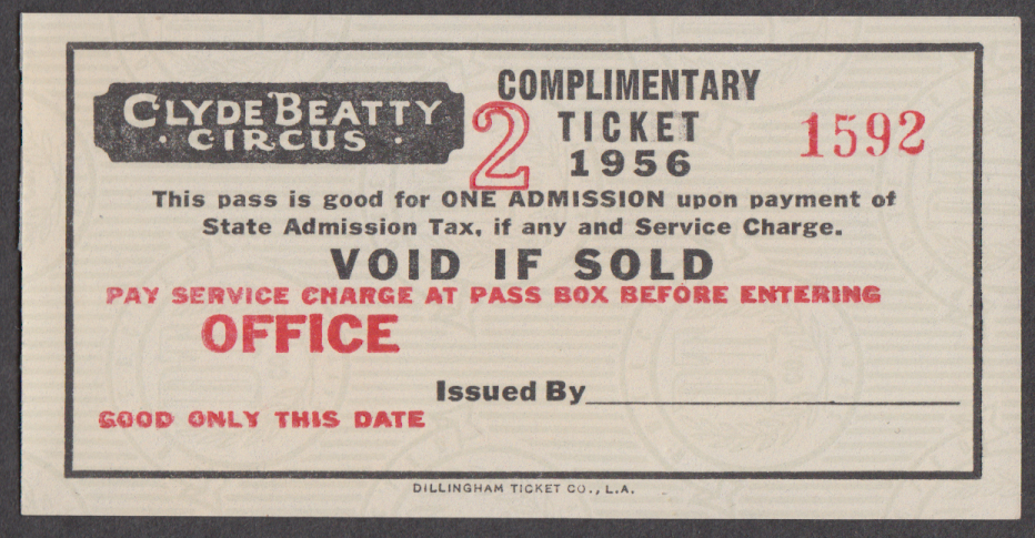 Clyde Beatty circus ticket Complimentary pay service charge at office 1956