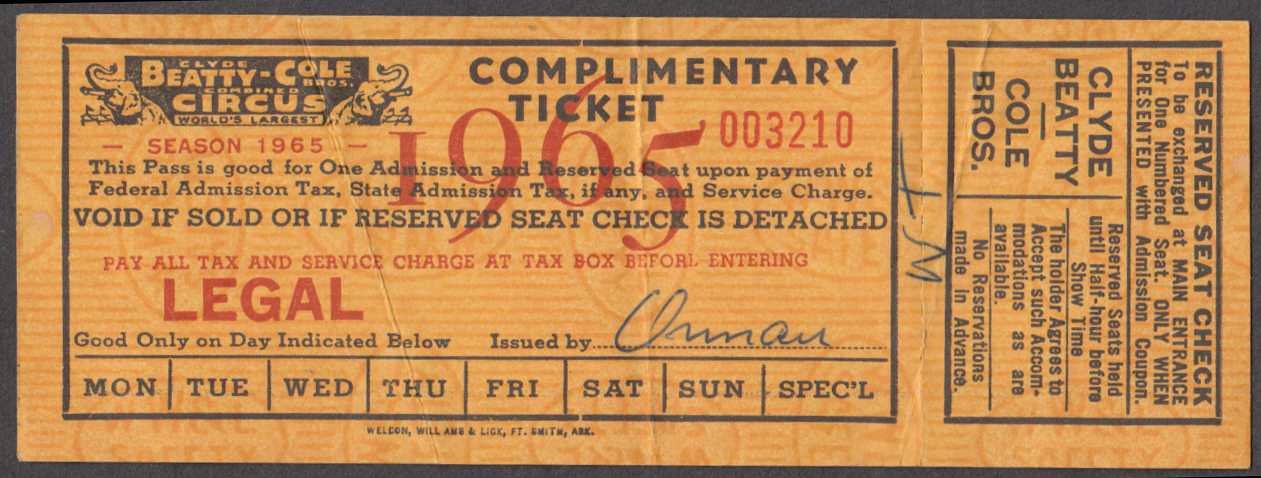 Clyde Beatty-Cole Bros Complimentary circus ticket 1965