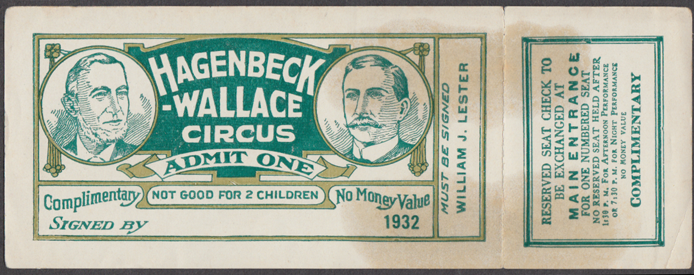 Hagenbeck-Wallace circus ticket Complimentary Admit One 1932