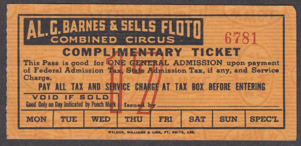 Al G Barnes & Sell Floto Combined Complimentary circus ticket undated