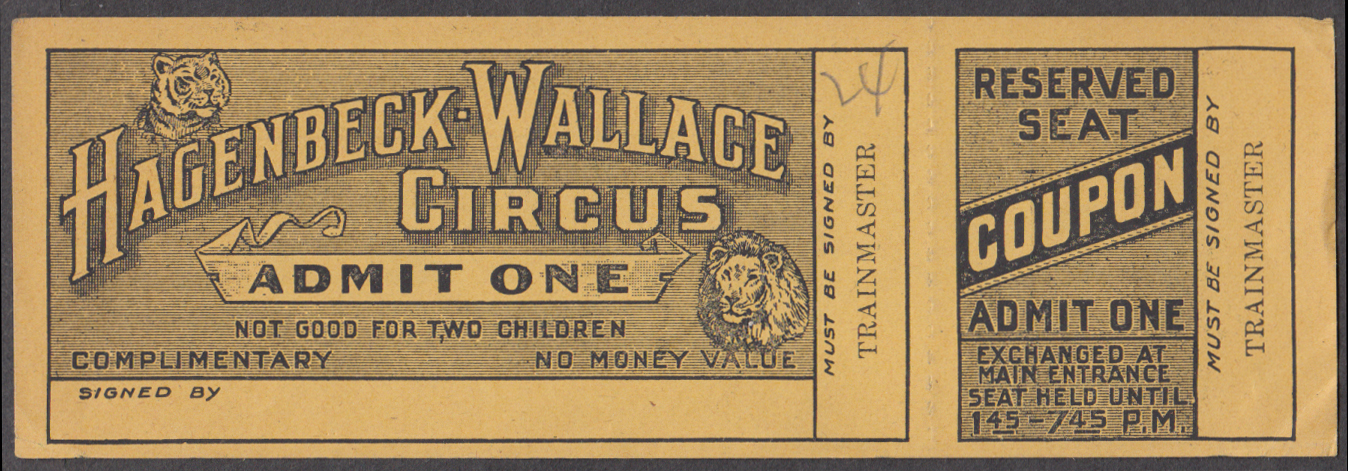 Hagenbeck-Wallace Circus Admit One Reserved Seat circus ticket 1924