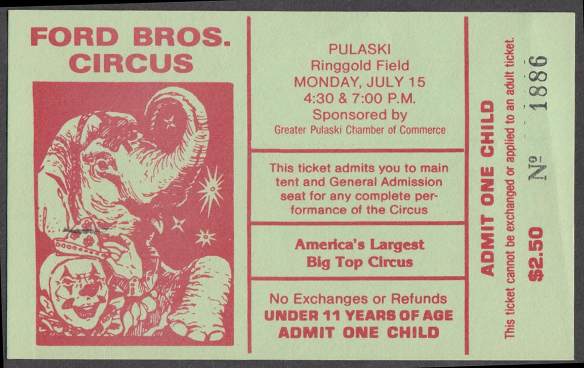 Ford Bros circus ticket Pulaski NY McDonald's free French Fries coupon 1985