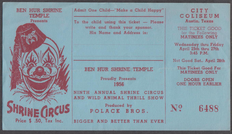 Polack Bros Shrine Circus ticket Ben Hur Temple Austin TX 1956