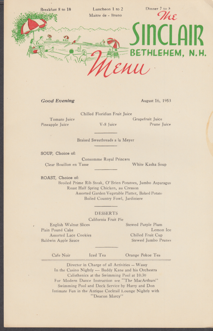 The Sinclair Hotel Bethlehem NH Dinner Menu Card 8/16 1953