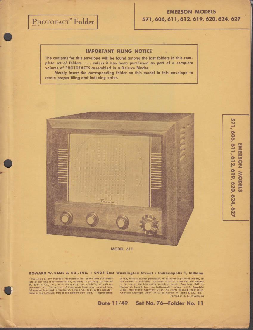 Photofact Folder 11/1949: Emerson Television 571 606 611 612 619 620