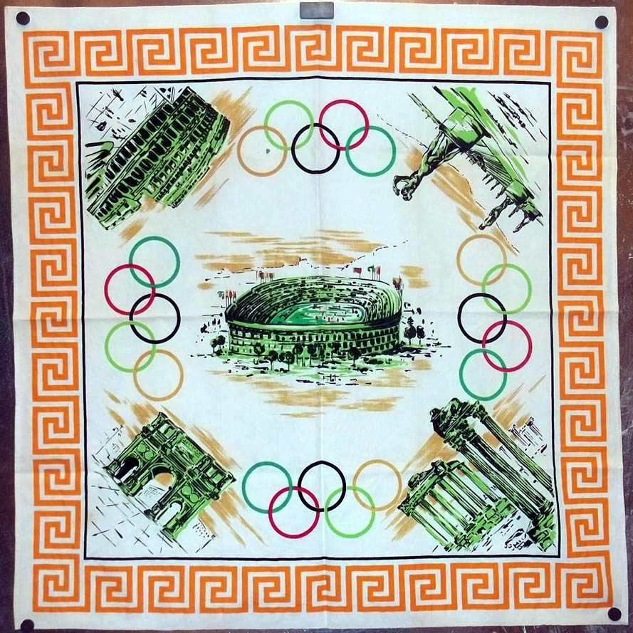 """1960 Rome Olympics souvenir tablecloth 33"""" square Olympic Summer Games"""