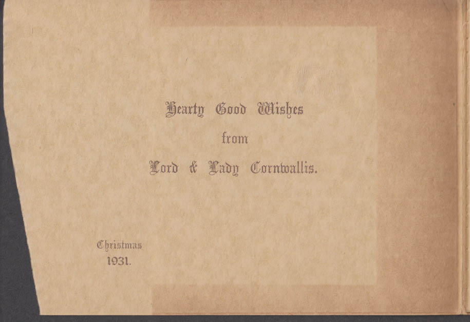 Lord & Lady Cornwallis Christmas Card 1931 to Rep George Darrow of PA