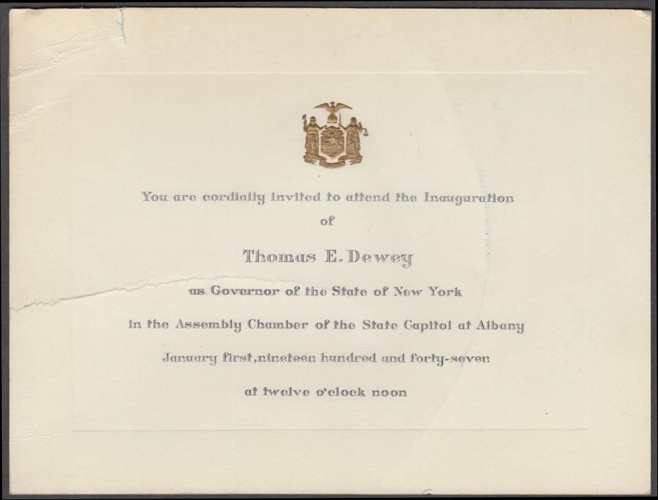 Governor Thomas E Dewey Inauguration Invitation 1947 Albany NY