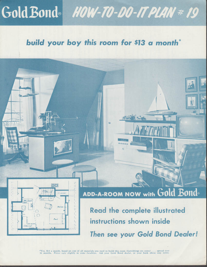 GOLD BOND How-to-Do-It Plan #19 Boy's Room Add-A-Room Plan 1962