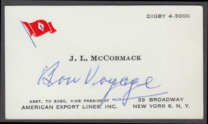 American Export Lines J L McCormack business card 1950s