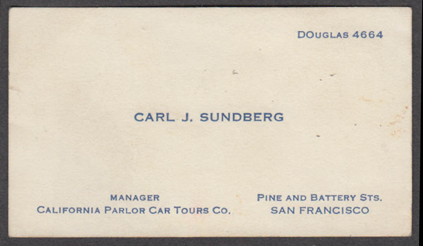 California Parlor Car Bus Tours Carl J Sundberg Manager business card 1930s