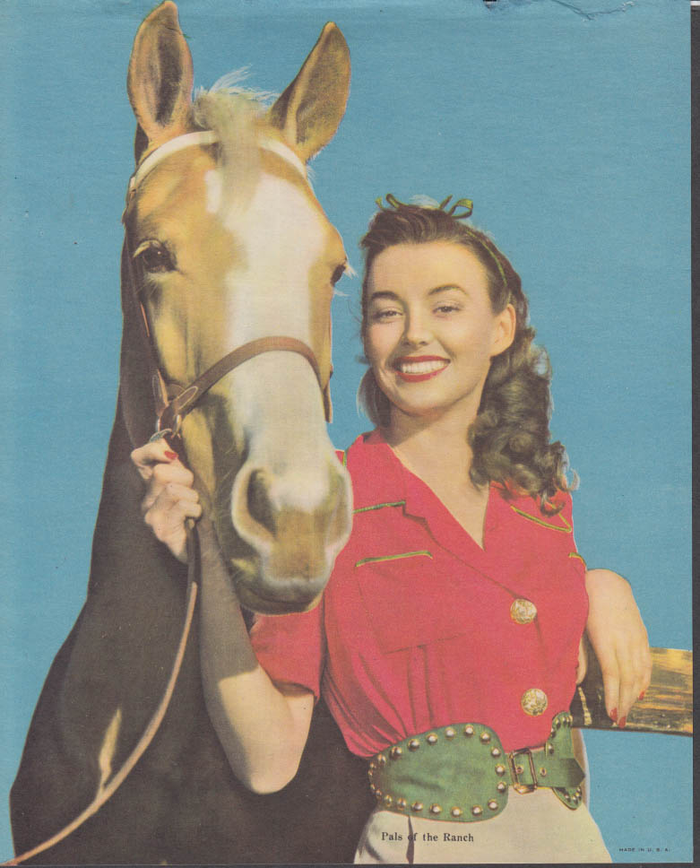 """Pals of the Ranch"" calendar print palomino & pretty brunette 1950s"