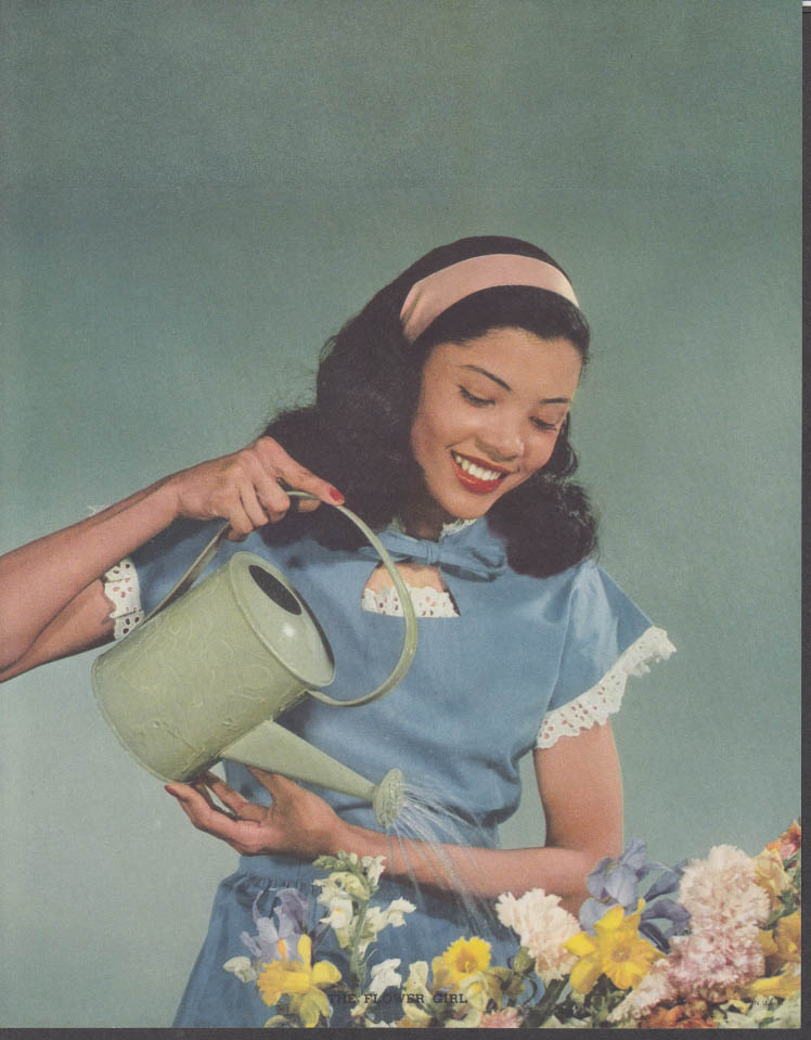 """The Flower Girl"" Young black girl watering flowers calendar print 1950s"
