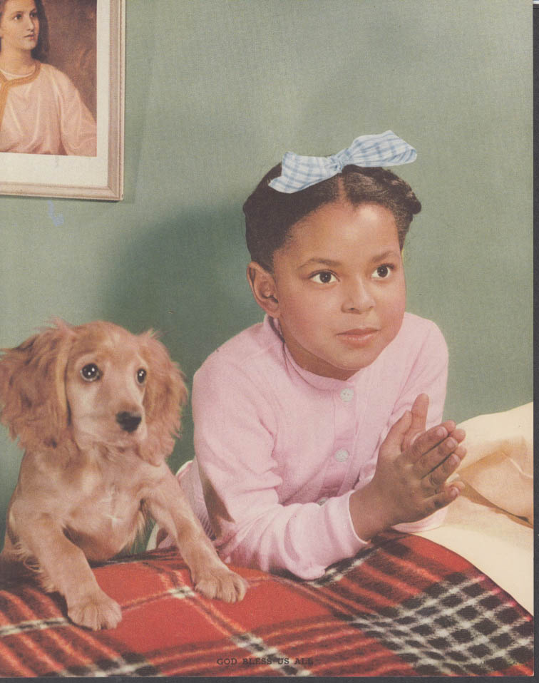 """God Bless Us All"" Negro little girl praying calendar print 1950s cocker spaniel"