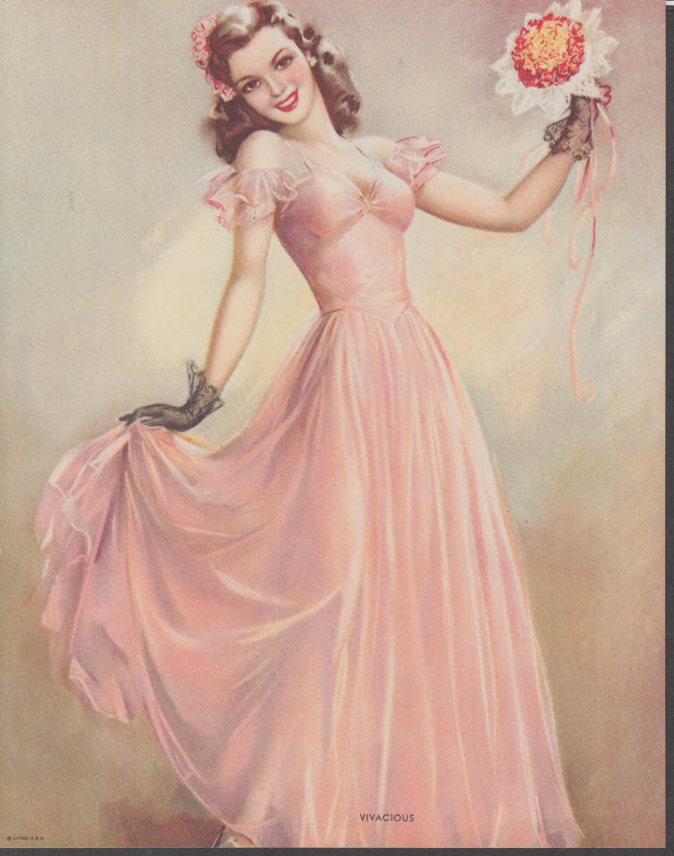 """Vivacious"" pretty girl in long pink dress & corsage calendar print 1950s"