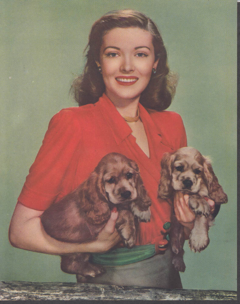 """Bosom Buddies"" Pretty girl holding two Cocker Spaniel pups calendar print 1950s"