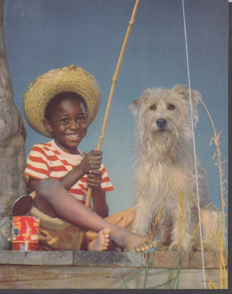 """Comrades"" calendar print Negro boy bamboo fishing pole & dog 1950s"