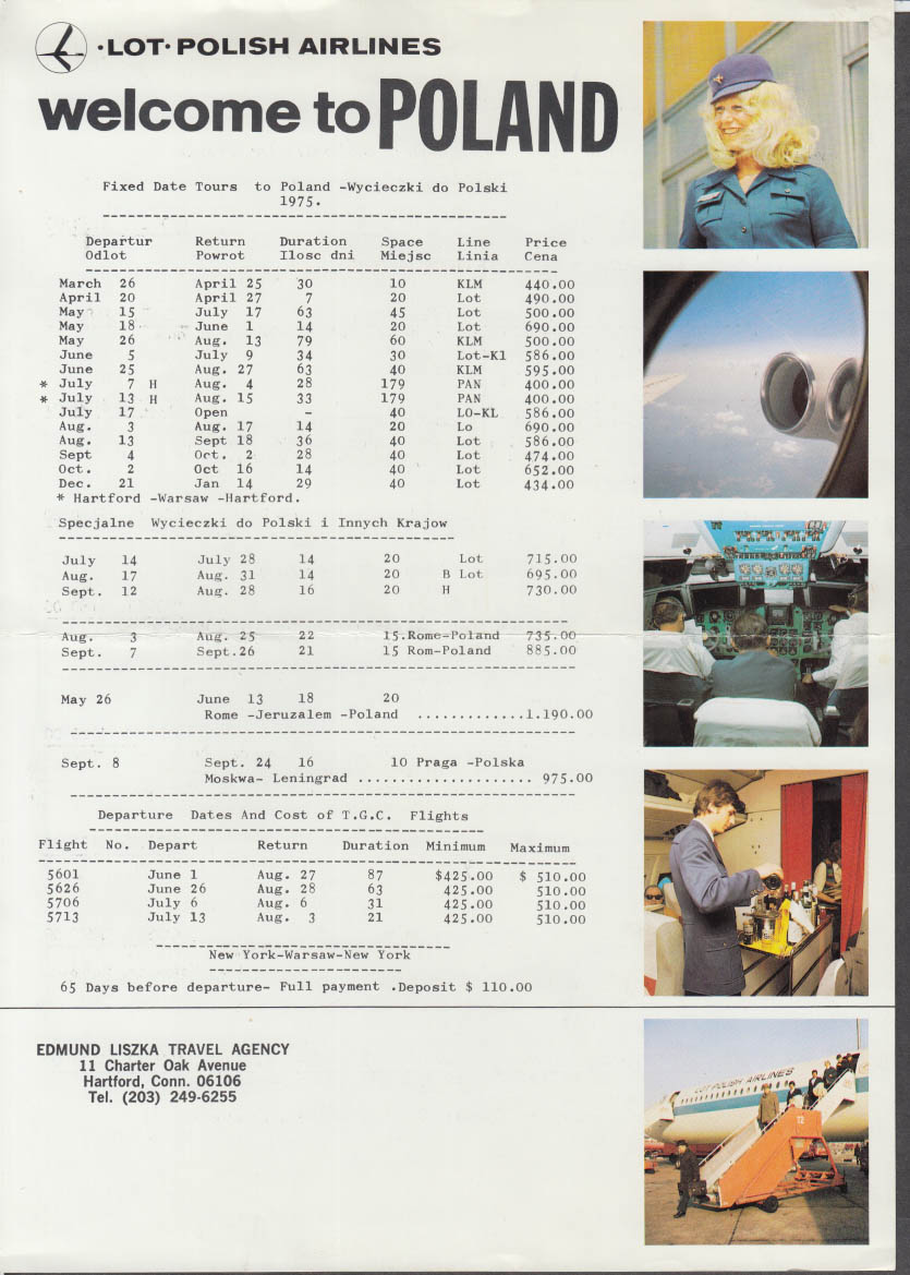 LOT Polish Airlines Welcome to Poland Timetable sheet 1975