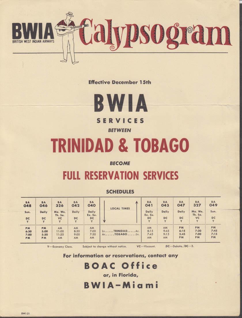 BWIA British West Indian Airways CALYPSOGRAM 1960s Tribidad-Tobago timetable