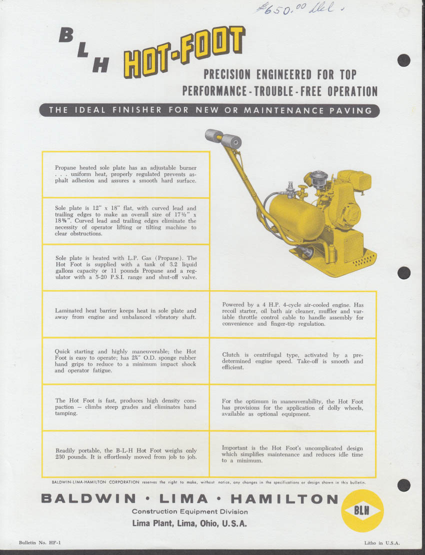 Baldwin-Lima-Hamilton BLH Hot-Foot Asphalt Finisher spec sheet ca 1950s