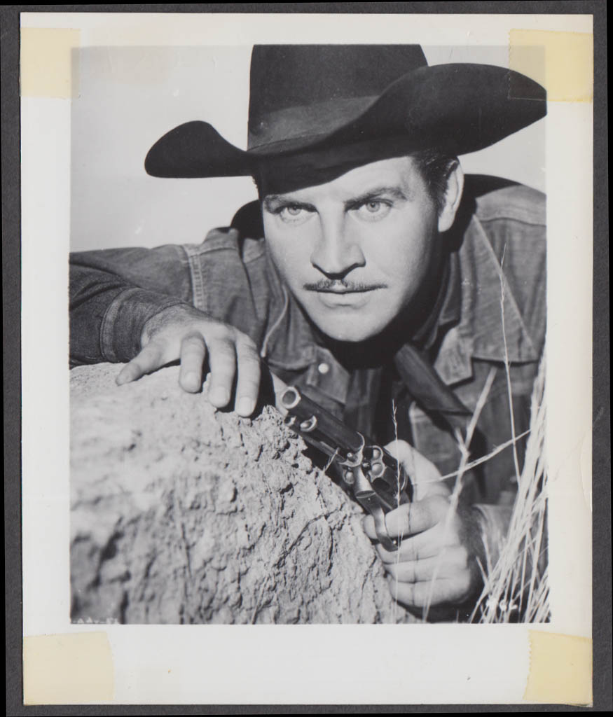 Robert Preston dressed as cowboy with revolver fan club snapshot 1950s