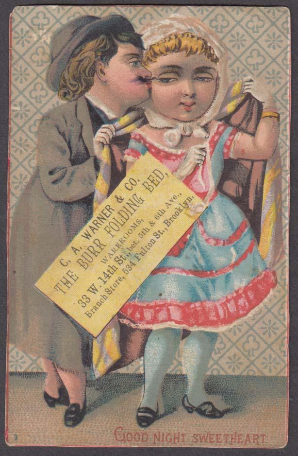 C A Warner Burr Folding Bed trade card Brooklyn 1880s Good Night Sweetheart
