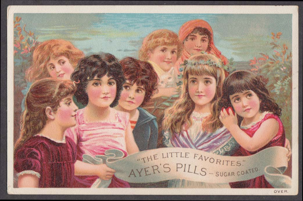 Ayer's Sugar Coated Pills The Little Favorites trade card 1880s 8 young girls