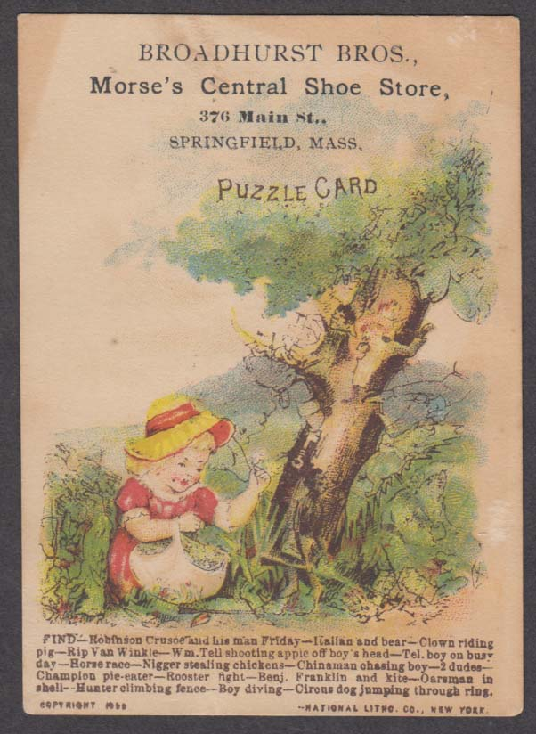 Broadhurst Bros Morse's Central Shoe Store Puzzle trade card 1890 Springfield MA
