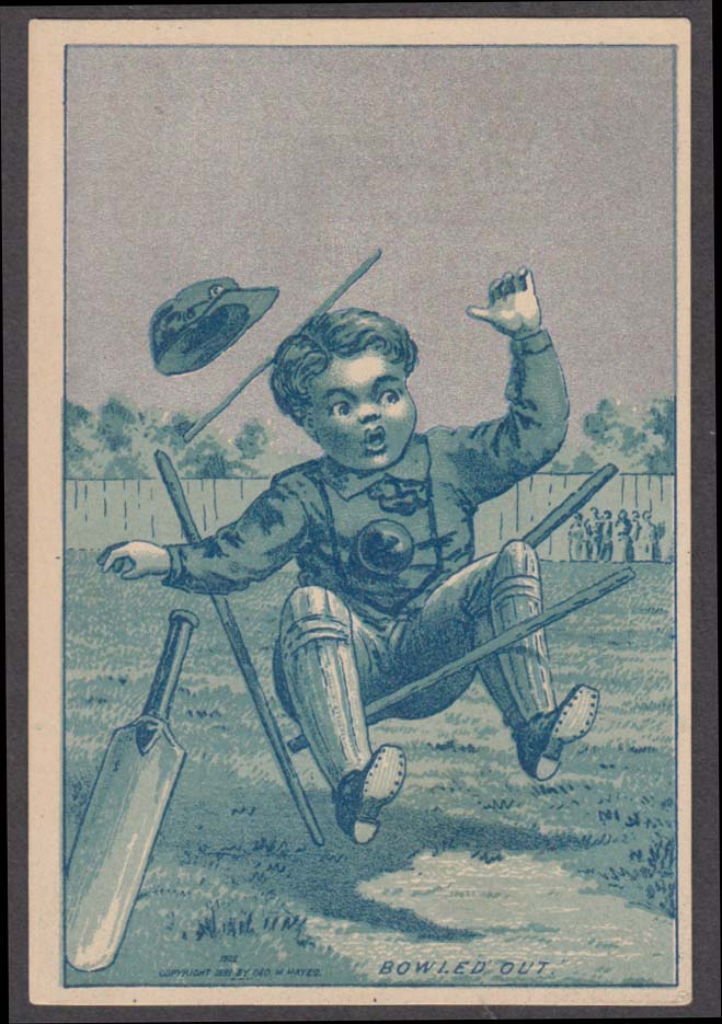 Boy bowled out in cricket match trade card 1880s