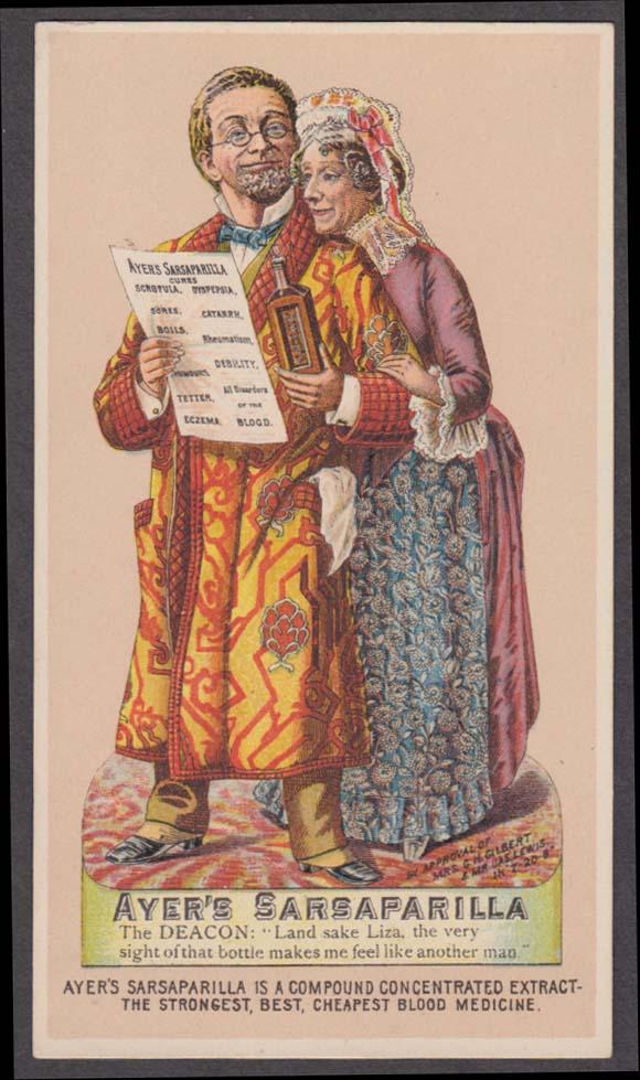 Ayer's Sarsaparilla Blood Medicine trade card The Deacon & Liza 1880s