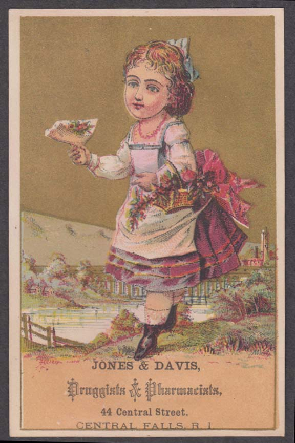 Jones & Davis Druggists Central Falls RI trade card 1880s girl & picked flower