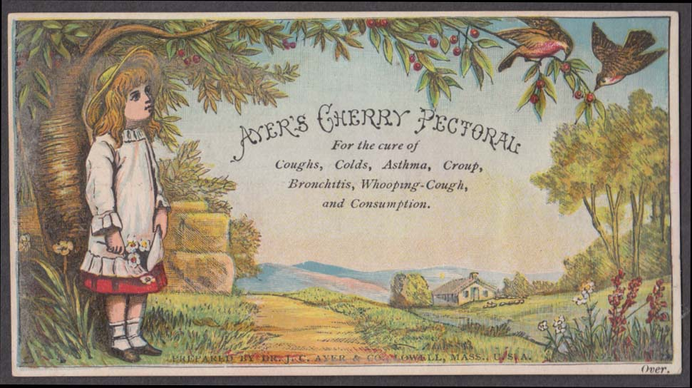 Ayer's Cherry Pectoral trade card 1880s girl watches birds peck cherries