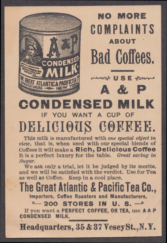 A & P Tea Coffee Condensed Milk Before/After upside down change trade card 1880s