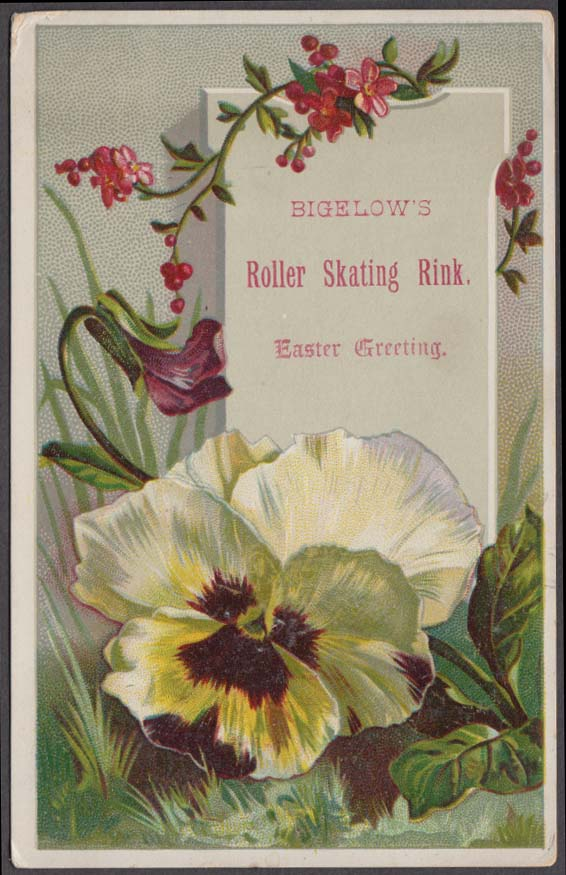 Bigelow's Roller Skating Rink Easter Greeting trade card 1880s
