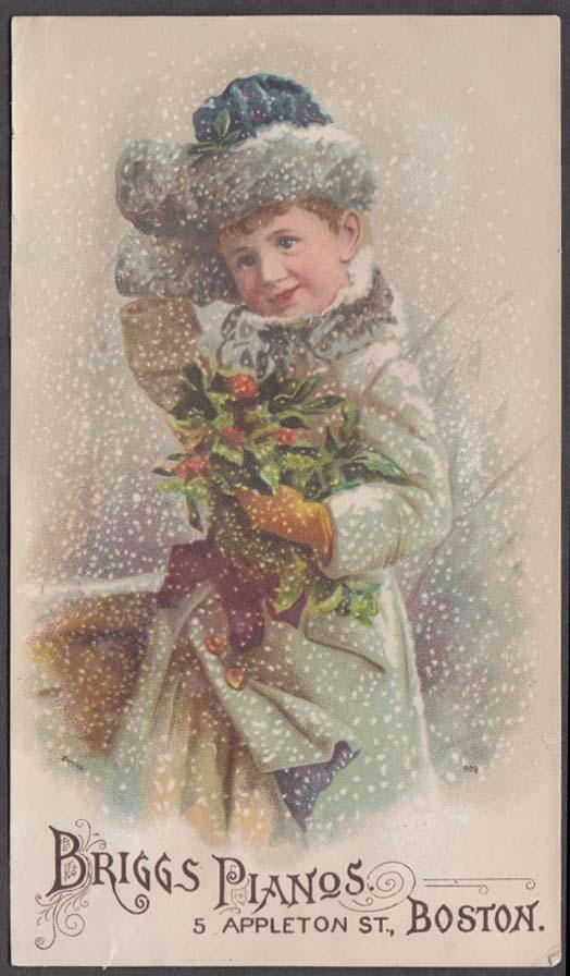 Briggs Pianos James M Lawton Jr Warerooms Boston trade card 1880s girl in snow