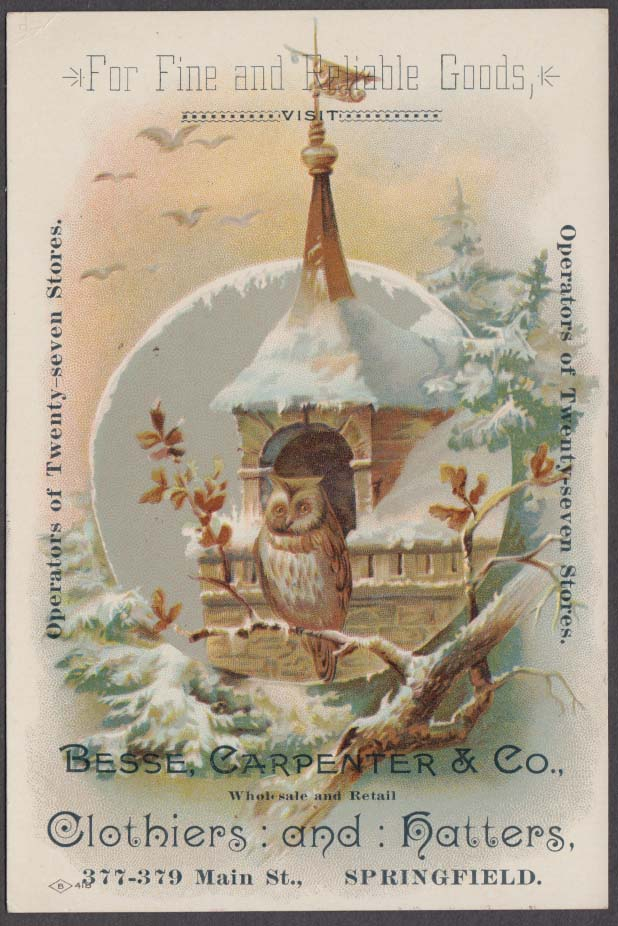 Besse Carpenter Clothiers & Hatters Springfield MA trade card 1880s owl motif
