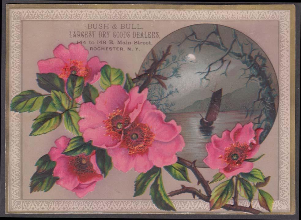 Bush & Bull Dry Goods Dealer Rochester NY trade c ard 1880s flowers & sailboat