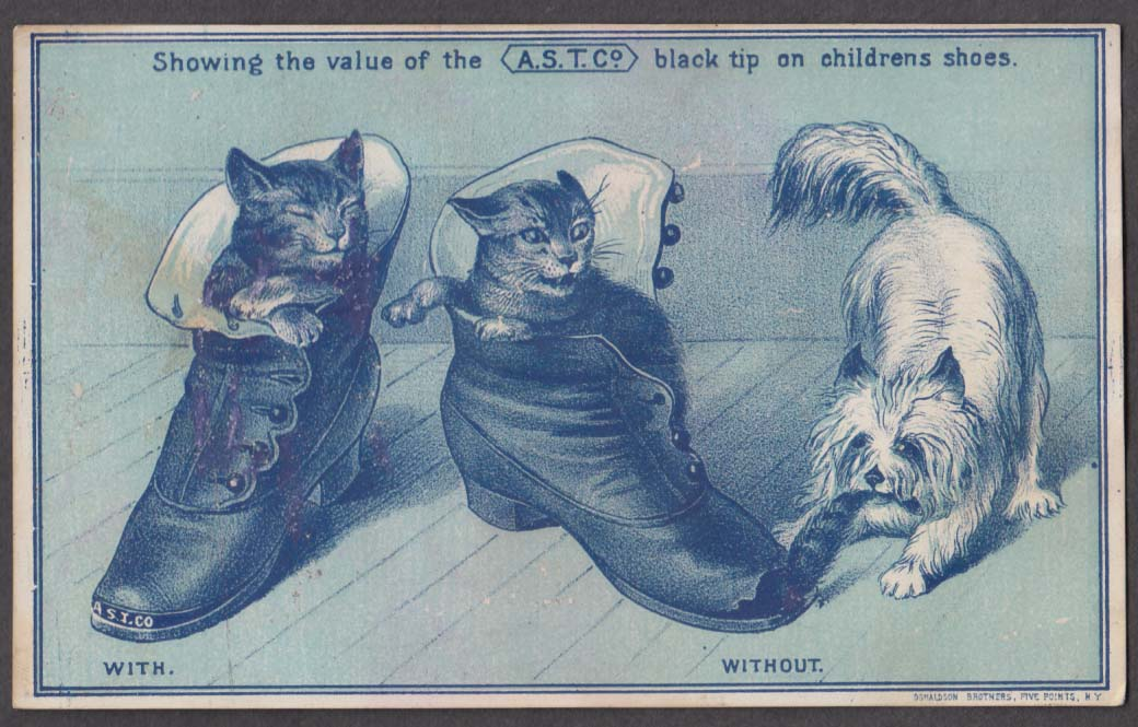AST Shoe Tip Black Tip trade card 1880s James Bell Susquehanna PA 2 cats & a dog