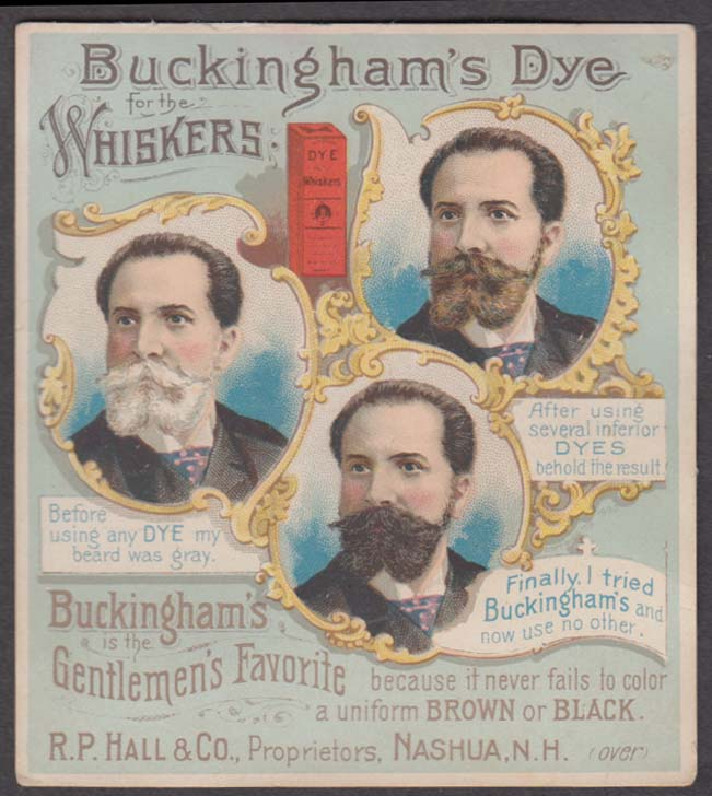 Buckingham's Dye for the Whiskers R P Hall Nashua NH trade card 1880s