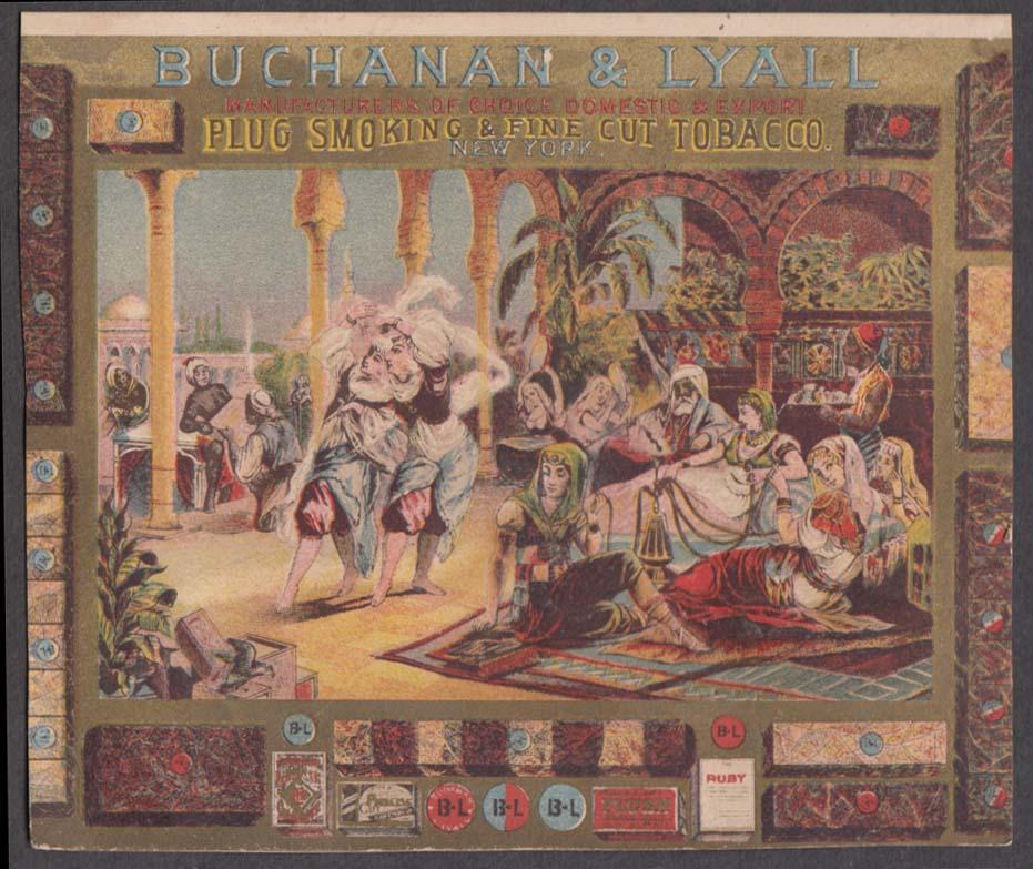 Buchanan & Lyall Plug Smoking & Fine Cut Tobacco trade card 1880s harem motif